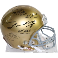 1988 Notre Dame Fighting Irish Full-Size Authentic Proline Helmet Team-Signed by (6) with Lou Holtz, Ricky Watters, Rocket Ismael, Tony Rice, Chris Zorich & Michael Stonebreaker (Steiner COA)
