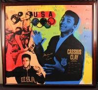 "Muhammad Ali Signed Steve Kaufman AP 49x54 Custom Framed Canvas Giclee Display Inscribed ""AKA Cassius Clay"" (PSA LOA)"