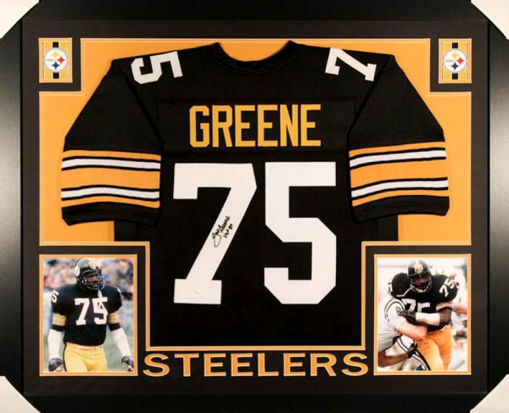 """Joe Greene Signed Steelers 35x43 Custom Framed Jersey Inscribed """"HOF ..."""