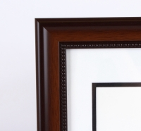 "Custom Frame for 11x14 Photo - Mahogany Frame with White Double Matting (Overall Dimensions 20.5"" x 16.5"") at PristineAuction.com"
