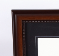 "Custom Frame for 11x14 Photo - Mahogany Frame with Black Double Matting (Overall Dimensions 20.5"" x 16.5"") at PristineAuction.com"