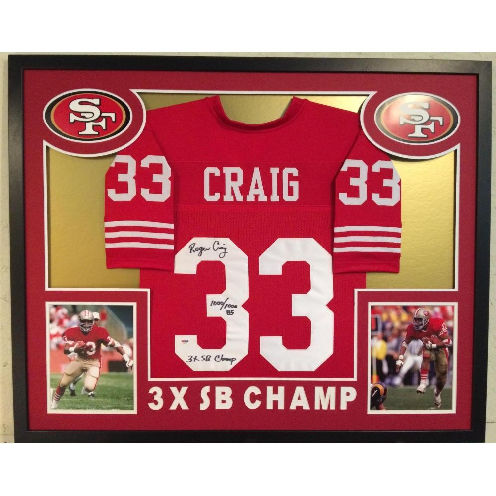 d97ba39d8 Roger Craig Signed 49ers 35x43 Custom Framed Jersey Inscribed