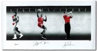 """Muhammad Ali, Michael Jordan & Tiger Woods Signed """"Legends of Sport"""" LE 25x49 Lithograph #37/100 (Upper Deck COA & PSA LOA)"""