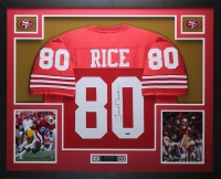 Jerry Rice Signed 35x43 Custom Framed Jersey (TriStar Hologram)