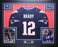 "Tom Brady Signed Patriots 35"" x 43"" Custom Framed Jersey (TriStar)"