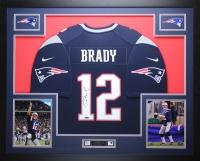 "Tom Brady Signed Patriots 35"" x 43"" Custom Framed Jersey (TriStar)"