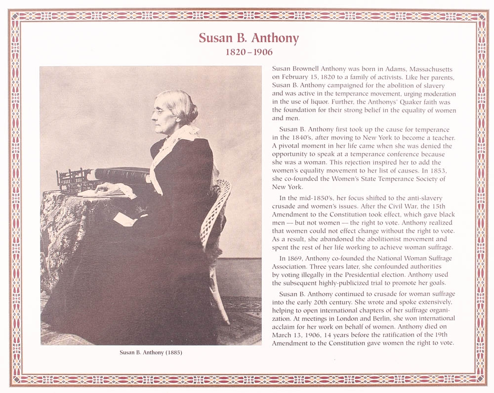 Postal Commemorative Society The Susan B Anthony US Dollar Coin Stamp Collection