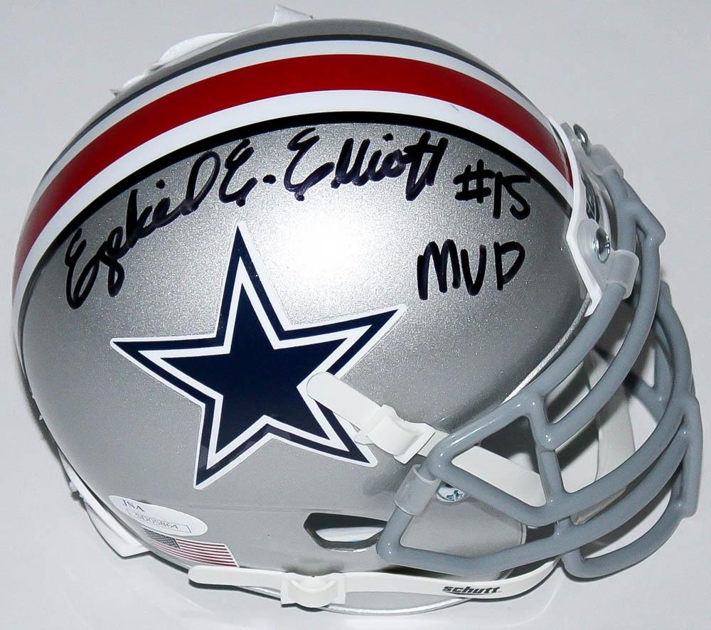 51551dc48de Ezekiel Elliott Signed Cowboys   Ohio State Buckeyes Split Mini-Helmet  Inscribed