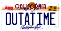 Michael J Fox & Christopher Lloyd Dual Signed Back To The Future California 'OUTATIME' Delorean Replica License Plate at PristineAuction.com