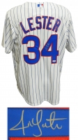 Jon Lester Signed Chicago Cubs White Pinstripe Majestic Replica Jersey at PristineAuction.com