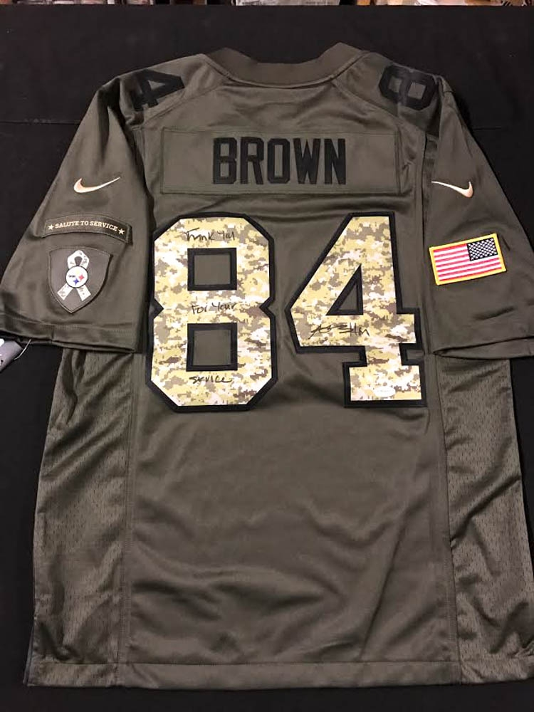 Antonio Brown Signed Steelers Salute to Service Jersey Inscribed