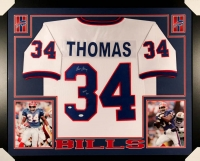 "Thurman Thomas Signed Bills 35x43 Custom Framed Jersey Inscribed ""HOF '07"" (JSA COA & GTSM)"
