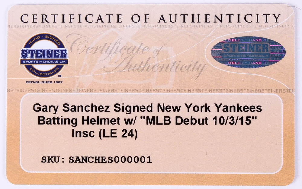 a6a07f883ed Gary Sanchez Signed LE Yankees Full-Size Batting Helmet Inscribed