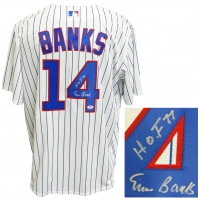 Ernie Banks Signed Chicago Cubs White Pinstripe Majestic Replica Jersey w/HOF'77 at PristineAuction.com