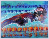"Bill Lopa ""Michael Phelps"" Signed Limited Edition Hand-Embellished 30x40 AROC Giclee on Canvas #71/88"