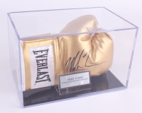 Mike Tyson Signed Gold Everlast Boxing Glove with Display Case (PSA COA)