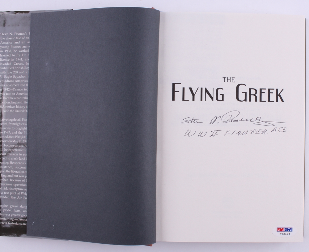 SIGNED The Flying Greek WWII Fighter Ace 4th Fighter Group P-47 P-51 Mustang