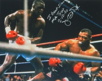 James Buster Douglas Signed Boxing Knocking Down Tyson 16x20 Photo w/I Beat Iron Mike Tyson 2-10-90 at PristineAuction.com