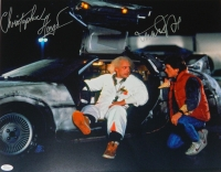 Michael J Fox & Christopher Lloyd Dual Signed Back To The Future With Delorean Time Machine 16x20 Photo at PristineAuction.com