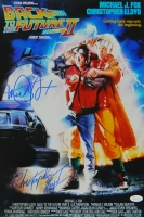 Michael J Fox & Christopher Lloyd Dual Signed Back To The Future Part II 12x18 Movie Poster at PristineAuction.com