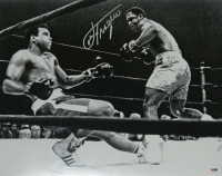 Joe Frazier Signed Boxing Knocking Out Muhammad Ali 16x20 Photo at PristineAuction.com
