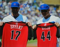 Anthony Rizzo & Kris Bryant Dual Signed Chicago Cubs Holdig 2015 All Star Game Jerseys 16x20 Photo at PristineAuction.com