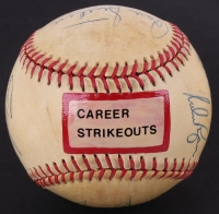 3000 Strikeout Club Signed OAL Baseball Signed by (9) with Bob Gibson, Nolan Ryan, Don Sutton, Fergie Jenkins  (JSA LOA)
