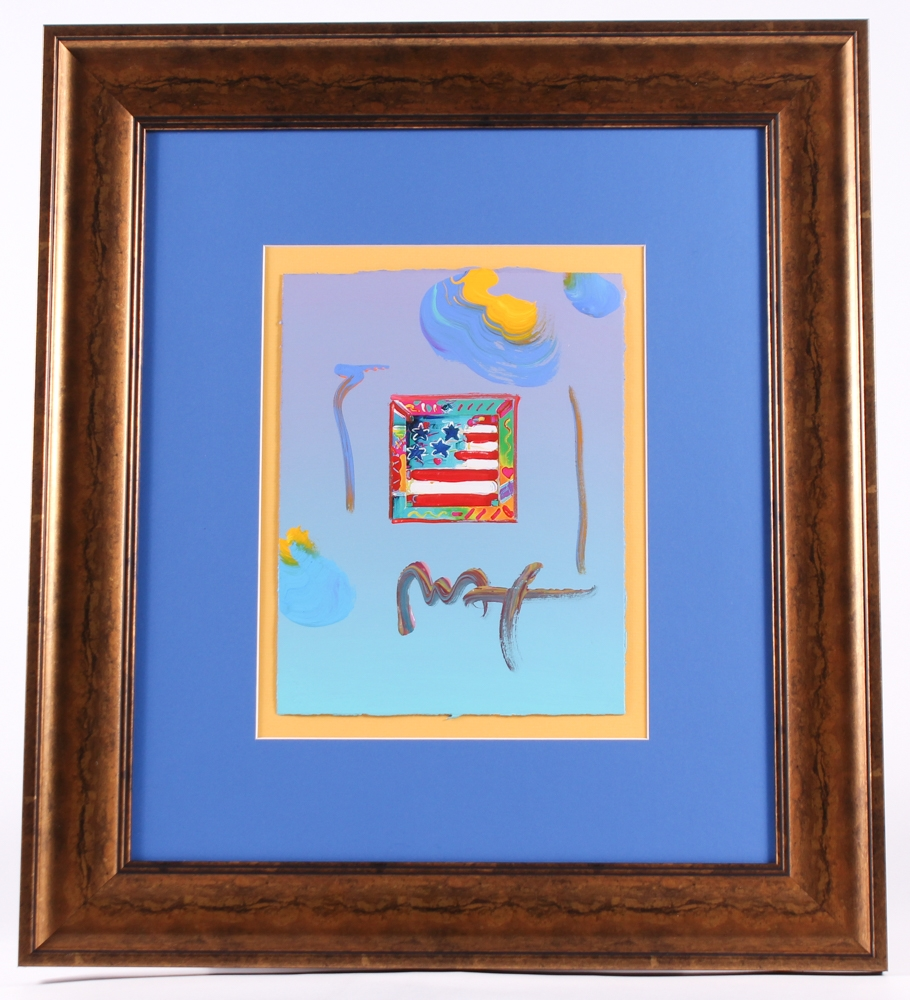 peter max flag with heart signed 85 x 11 original acrylic mixed