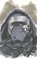 """Kylo Ren """"Star Wars"""" 1/1 ORIGINAL 5.5"""" x 8.5"""" Color Drawing on Paper Signed by Tom Hodges"""