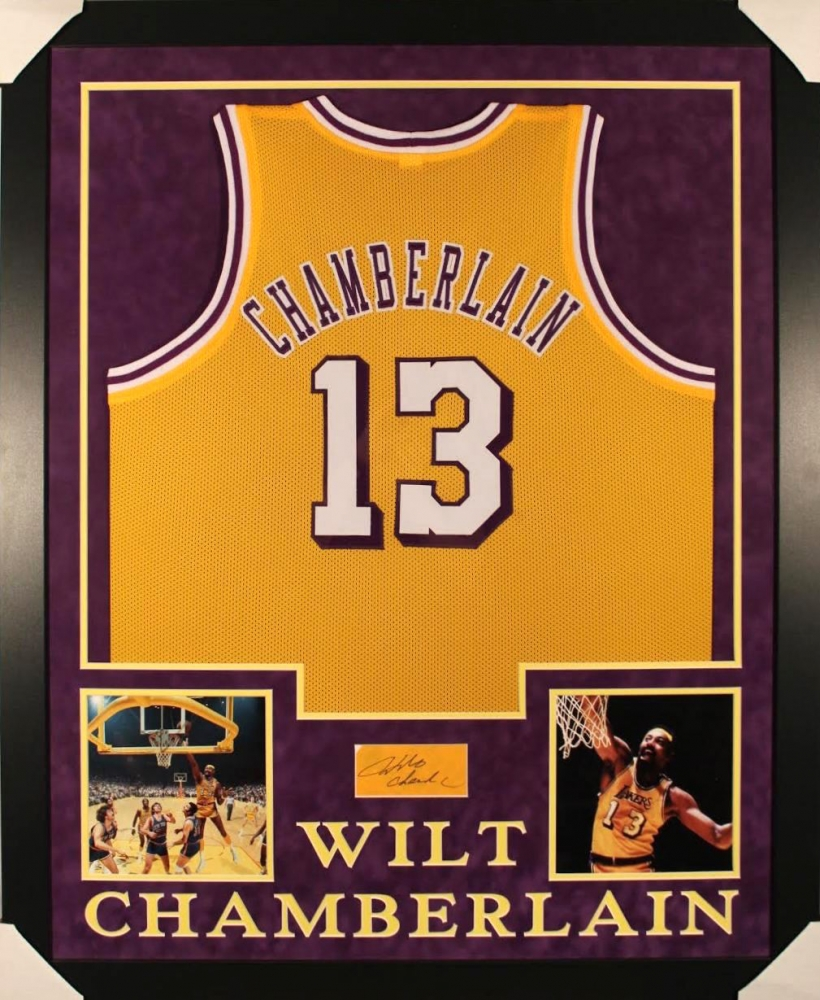 ... Signed Lakers 35x43 Custom Framed Jersey Cut Display (JSA COA) at  PristineAuction ISlide NBA Retro Legends Wilt Chamberlain 13 Jersey Slide  Sandal ... 84375dd32