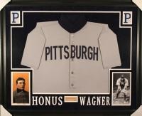 Honus Wagner Signed Pirates 35x43 Custom Framed Cut Display (JSA LOA)