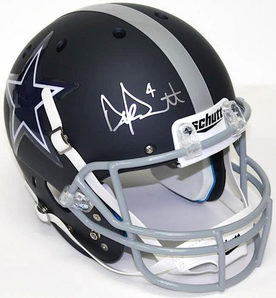 aedf6f66e23 Dak Prescott Signed Cowboys Custom Flat Matte Navy Full-Size Helmet (JSA  COA)