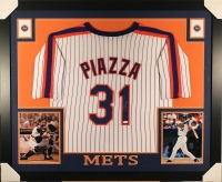 Mike Piazza Signed Mets 35x43 Custom Framed Jersey (JSA COA)