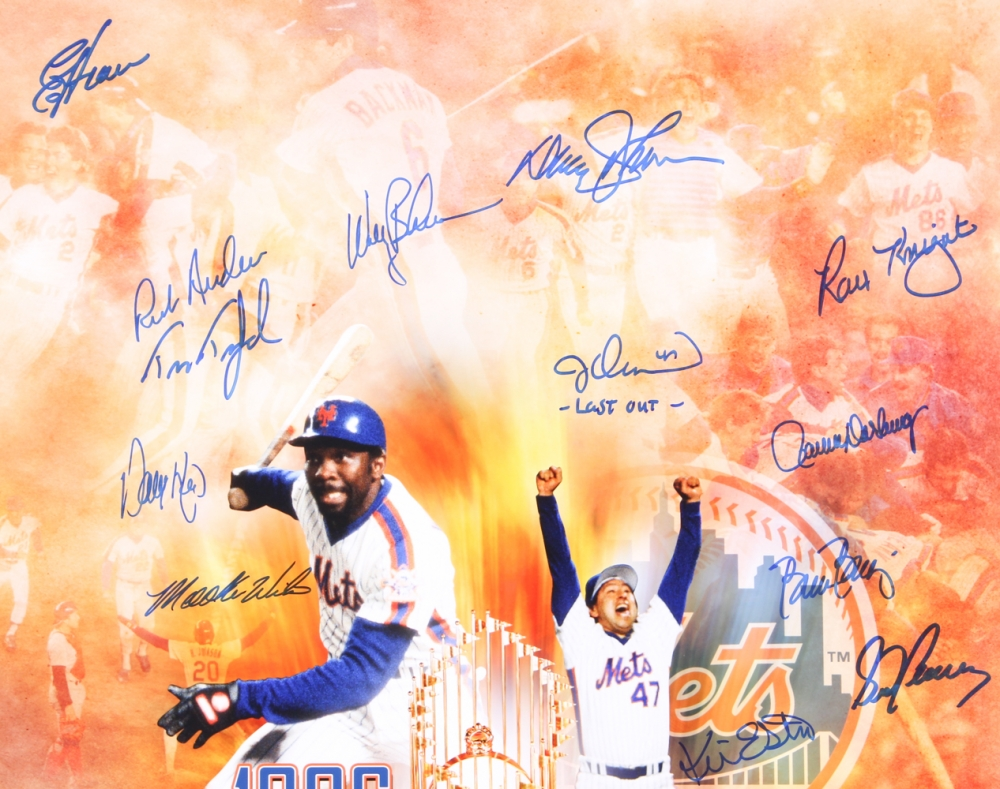1986 mets world series champions 16x20 photo team signed by 25 with