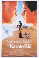 "Ralph Macchio, William Zabka & Martin Kove Signed ""The Karate Kid"" 11x17 Poster Inscribed ""Johnny"" & ""Sensei"" (Schwartz COA)"