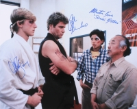 "Ralph Macchio, William Zabka & Martin Kove Signed ""The Karate Kid"" 16x20 Photo Inscribed ""Johnny"" & ""Sensei Kreese"" (Schwartz COA)"