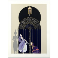 "Erte Signed ""Bird in a Gilded Cage"" Limited Edition 25.5"" x 35.5"" Serigraph"