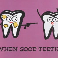 """Todd Goldman """"When Good Teeth Go Bad"""" Fine Art 24x36 Litho Poster at PristineAuction.com"""