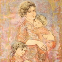 """Edna Hibel Signed """"Mona and Family"""" Limited Edition 25x38 Lithograph at PristineAuction.com"""