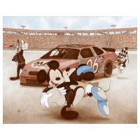"""Mike Kupka Signed """"The Thrill of Victory (Mickey Mouse)"""" LE 24x30 Giclee on Canvas from Disney Fine Art"""