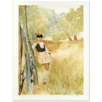 """William Nelson Signed """"Girl in Meadow"""" Limited Edition 22x28 Serigraph at PristineAuction.com"""