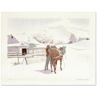 "William Nelson Signed ""Saddling Up"" Limited Edition 22x29 Lithograph"
