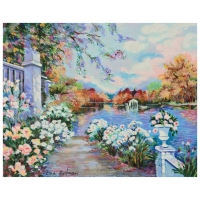 """Zina Roitman Signed """"Lac Fleuri"""" Limited Edition 19x15 Serigraph on Canvas Board at PristineAuction.com"""
