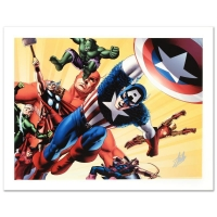 "Stan Lee Signed ""Fallen Son: Death of Captain America #5"" Limited Edition 24x18 Giclee on Canvas by John Cassaday & Marvel Comics"