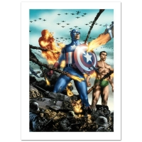"Stan Lee Signed ""Giant-Size Invaders #2"" Limited Edition 18x27 Giclee on Canvas by Jay Anacleto & Marvel Comics"