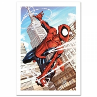 "Stan Lee Signed ""Marvel Adventures: Spider-Man #50"" Limited Edition 18x27 Giclee on Canvas by Patrick Scherberger and Marvel Comics"