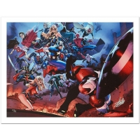"Stan Lee Signed Marvel Comics ""Siege #3"" Limited Edition 18x24 Giclee on Canvas by Oliver Coipel"