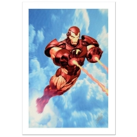"""Stan Lee Signed Marvel Comics """"Iron Man: Iron Protocols #1"""" Limited Edition 18x27 Giclee on Canvas by Ariel Olivetti"""