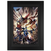 """Stan Lee Signed """"Avengers #12.1"""" Extremely Limited Edition 25x31 Giclee on Canvas by Bryan Hitch & Marvel Comics #/10"""
