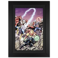 "Stan Lee Signed ""Avengers #21"" Limited Edition 29x40 Custom Framed Giclee on Canvas by George Perez & Marvel Comics #/4"